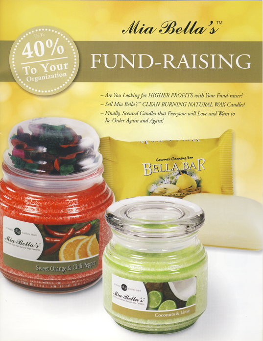 Mia Bella's Scented Jar Candles and Soaps Fundraising Catalog Page 1
