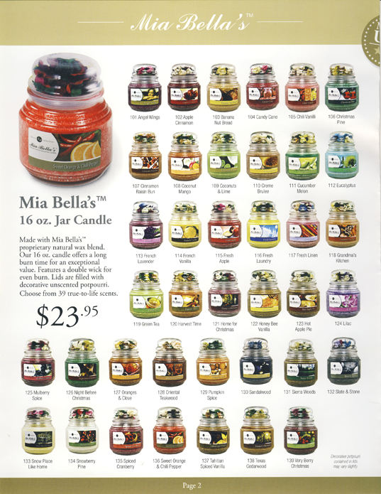 Mia Bella's Scented 16oz Jar Candles with Potpourri for non-profit organizations, schools and more Fundraising Catalog Page 2