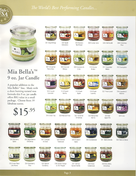 Mia Bella's Scented 9oz Jar Candles for non-profit organizations, schools, sports teams and more Fundraising Catalog Page 3