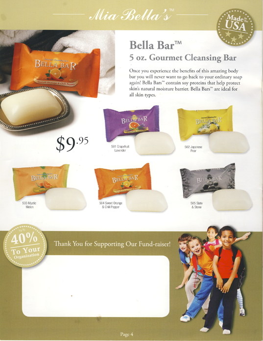 Mia Bella's Bella Bar Gourmet Cleansing Body Bar Soap to shave, shampoo and clean 40% profit Fundraising Catalog Page 4